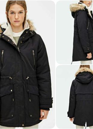 Теплая парка куртка Pull&Bear черная р.S (M) осень-зима-демисезон