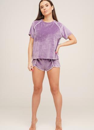 Велюровая женская пижама Футболка и шорты 42 44 46 раз