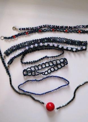 Набор детский ручная работа бисер 7 браслетов+ожерелье