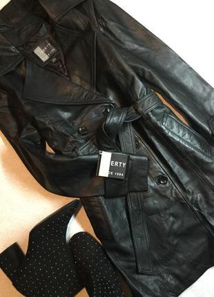 Тренч кожаный двубортный курточка плащ liberty размер 14