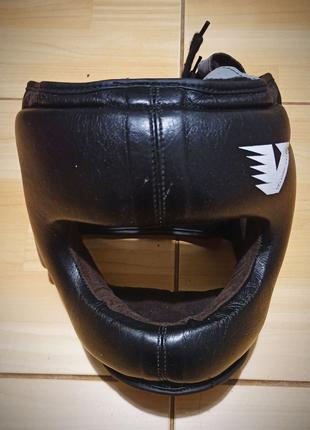 Шлем боксерский с бампером кожаный Velo (черный)