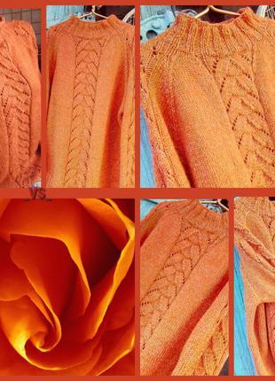 """Вязаный свитер-реглан """"оранжевое настроение"""""""
