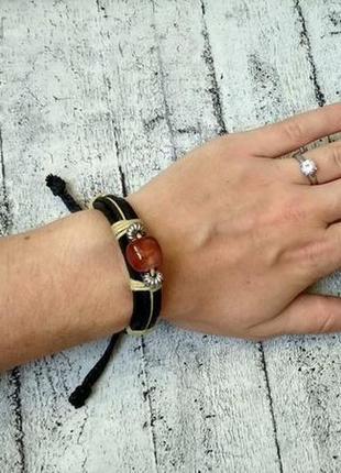 Браслет/шамбала  с камнем из натуральной кожи