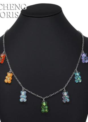 Украшения с мишками ожерелье, с перламутром - длина 48см, смола,