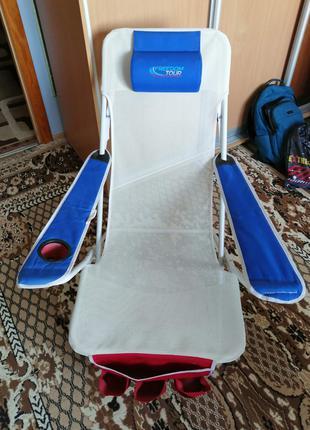 Шезлонг, кресло, стул для рыбалки, отдыха. Сетка
