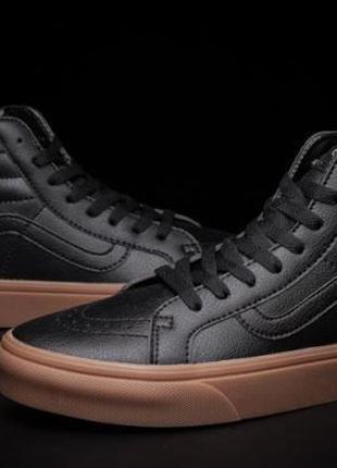 Мужские кожаные высокие кеды Vans Black / Черные
