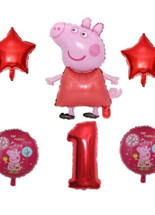 Шарики свинка пеппа на 1 год - в наборе 6шт., (без гелия)