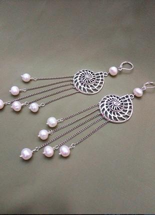 Эффектные серьги барочный жемчуг серебро