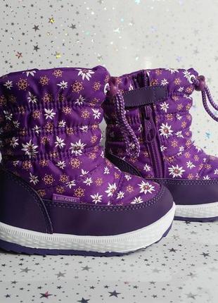 Зимние сапоги-дутики для девочки тм libang 26р фиолетовые