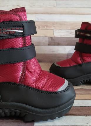 Распродажа! зимние непромокаемые сапоги-дутики красно-черные 28 и