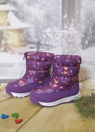 Зимние сапоги дутики девочке biki 30р фиолетовые