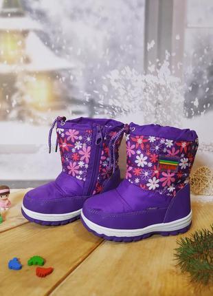 Зимние сапоги дутики девочке libang 28р фиолетовые