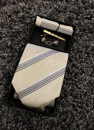 Краватка запонки платок галстук зажим 4в1