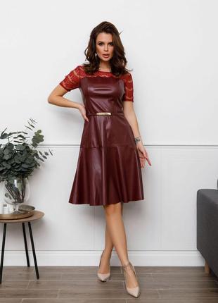 Бордовое и чёрное платье из эко-кожи
