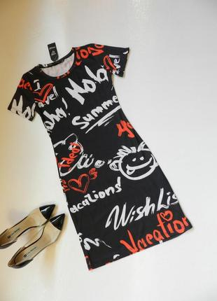 ⛔✅ весёлое мини платье с надписями и мордочками 3-х цветов стрейч