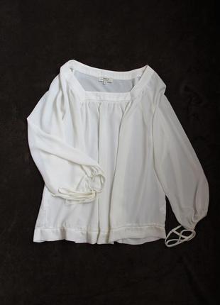 Молочно-белая блузка с пышным рукавом от papaya, размер l