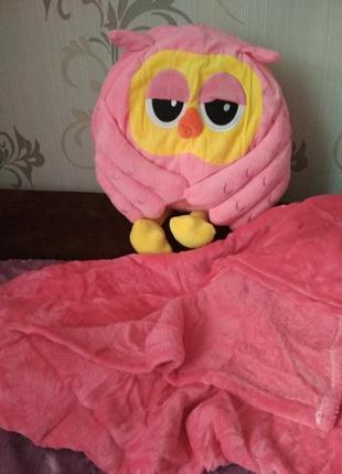 Детская подушка-игрушка совушка + плед внутри