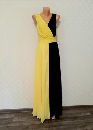 🌓сине-жёлтое вечернее платье в греческом стиле 🌞