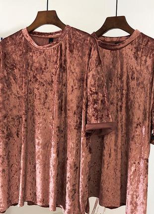 Женская велюровая футболка oversize
