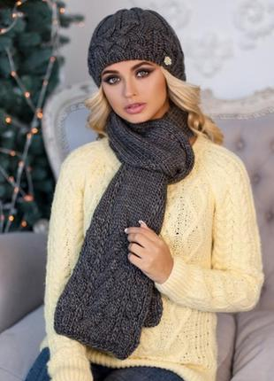 Зимний комплект ,шапка на флисе и шарф