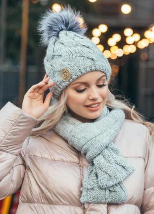 Комплект зима,шапка на флисе и шарф