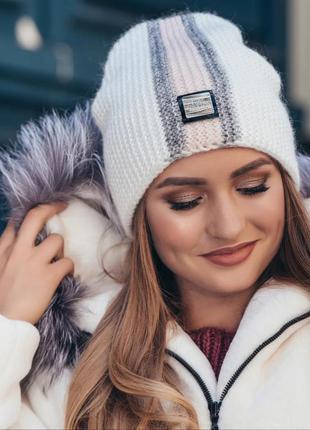 Двуслойная шапка колпак осень-зима