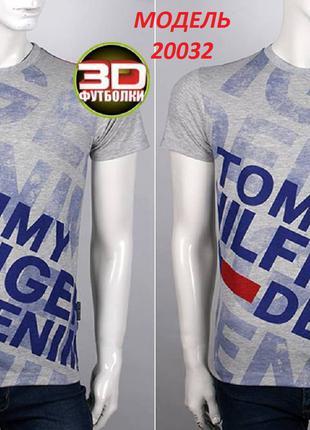 Футболка мужская, 3 D принт Tommy Hilfiger, серо-синий меланж