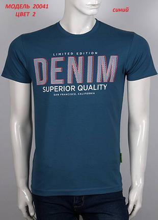 Футболка мужская, принт DENIM, цвет синий