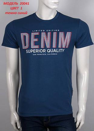Футболка мужская, принт DENIM, цвет темно синий