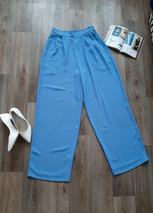 Классические голубые брюки клёш с завышенной талией 48-50 размера