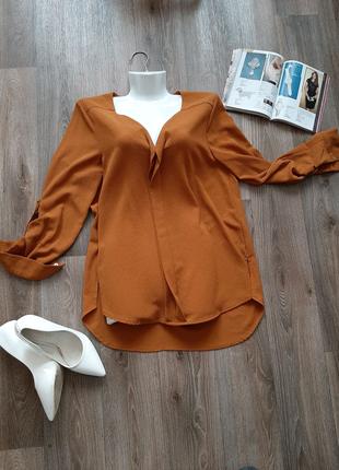 Классическая блуза горчичного цвета 48 р-ра бренда New look