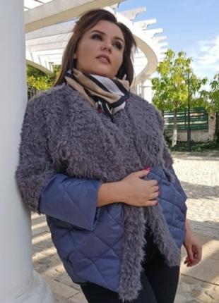 Стильна куртка с мехом длинная ворса, цвет серый графит