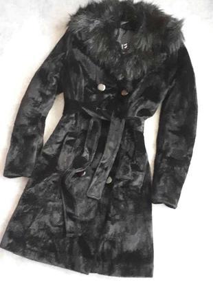 Пальто демисезон / зима приталенное с  ворсовой ткани