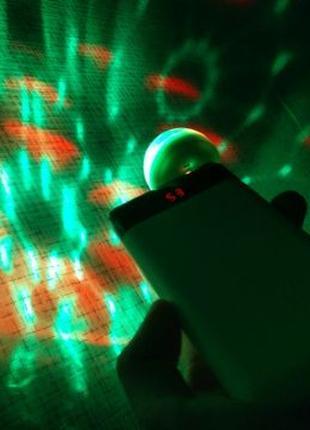 Мини usb юсб диско шар rgb лампа светомузыка лазер для праздника