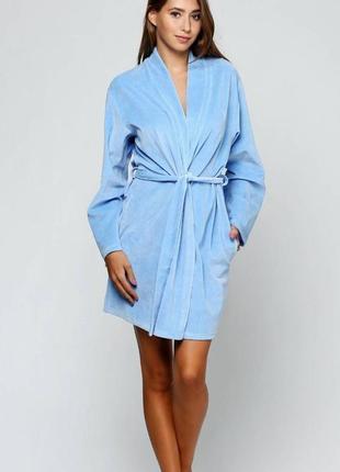Велюровый короткий халат, халат женский de lafense 859 solange...