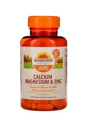 Sundown Naturals, Кальций, магний и цинк, 100 таблеток
