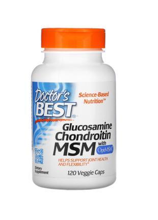 Глюкозамин, Хондроитин, МСМ, OptiMSM, Doctor's Best, 120 Капсул