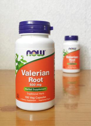 Корень валерианы, 500 мг, Now Foods, 100 капсул
