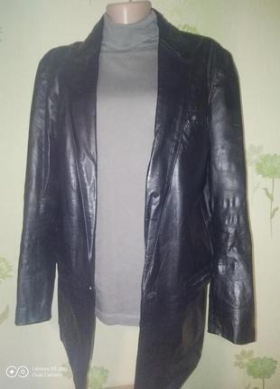 Кожаный мужской пиджак- l- xl -на невысокого мужчину.-дёшево