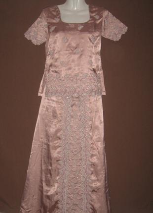 Костюм женский летний шелковый. Блузка + Юбка +  Сари. Шикарный.
