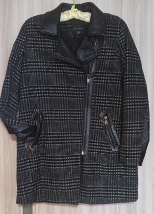 Стильное Пальто Amisu с кожаными вставками утеплитель