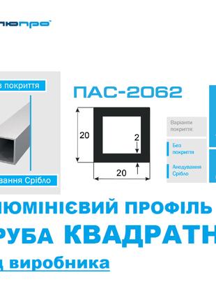 Алюмінієва ТРУБА 20*20 КВАДРАТНА ПАС-2062 / квадратная 20х20