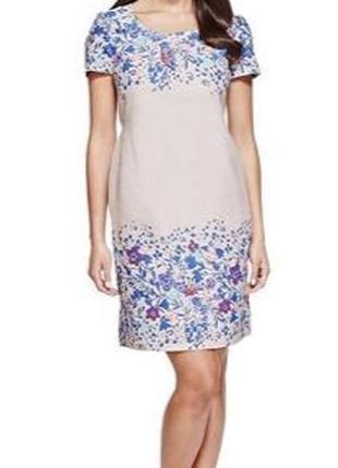 Платье лен в цветочный принт
