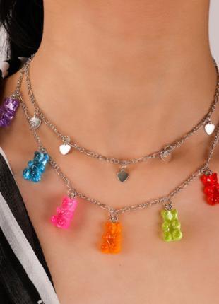 Украшения с мишками ожерелье, двойное с сердечками - длина 43см,