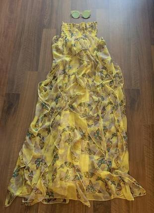Воздушное платье с бабочками и воланами