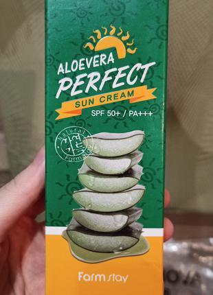 Farmstay aloevera perfect sun cream солнцезащитный крем с алоэ