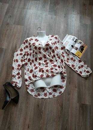 Классическая базовая блуза с маками 48-50 размера бренда George