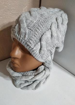 Комплект шапка снуд косички