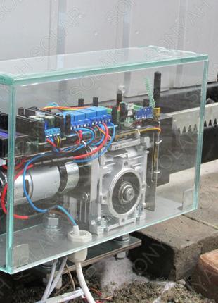 Безопасный привод откатных ворот 12В мотор-редуктор автоматика