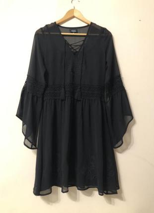Очень стильное шифоновое платье, платье кружево + вышивка, пла...